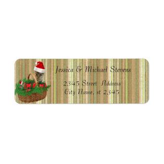 Modern trendy funny holiday cat & mouse santa return address label