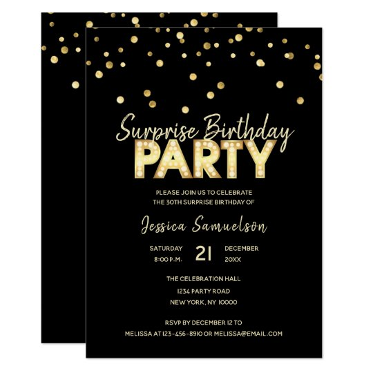 Modern Trendy Gold Black SURPRISE BIRTHDAY PARTY Card
