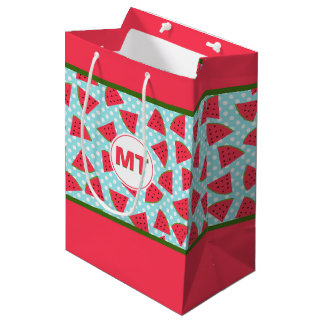 Modern Trendy Graphic Watermelon Fruit Pattern Medium Gift Bag