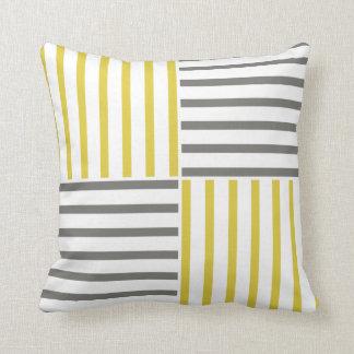 Modern Trendy Gray Yellow Stripes Pattern Pillow
