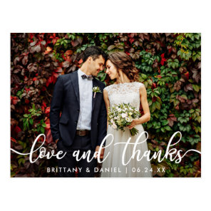 Modern Trendy Love and Thanks | Wedding Photo Postcard