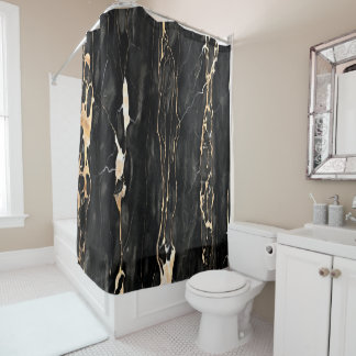 Modern Trendy Marble Pattern in Black Gold Gray Shower Curtain