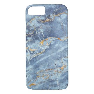 Modern Trendy Marble Pattern in Blue Gold Gray iPhone 7 Case