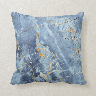Modern Trendy Marble Pattern in Blue Gold Gray Throw Pillow