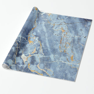 Modern Trendy Marble Pattern in Blue Gold Gray Wrapping Paper