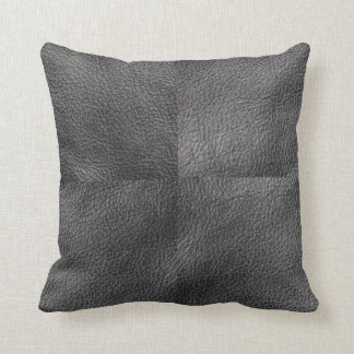 Modern trendy patchwork dark gray leather photos throw pillow