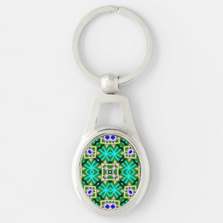 Modern trendy pattern Silver-Colored oval metal keychain