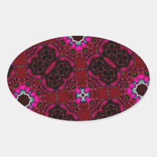 Modern trendy pattern oval sticker