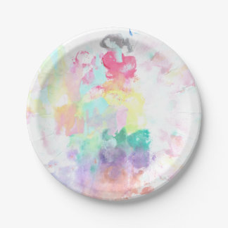 Modern trendy pink teal bright watercolor pattern paper plate