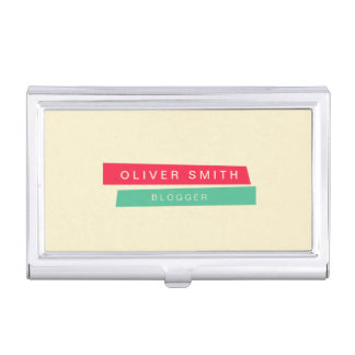 Modern Trendy Red and Green Strips Business Card Holder