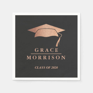 Modern & Trendy Rose Gold Personalized Graduation Paper Napkin