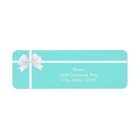 Modern Trendy Turquoise Blue Bling Diamond Bow
