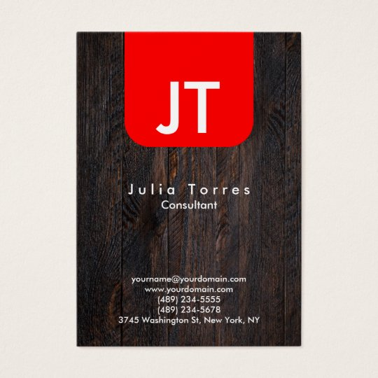 Modern Trendy Wood Red Monogram Business Card