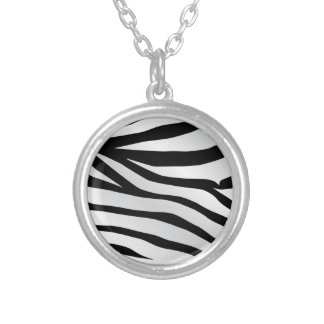 Modern Trendy Zebra Stripes Pattern Silver Plated Necklace