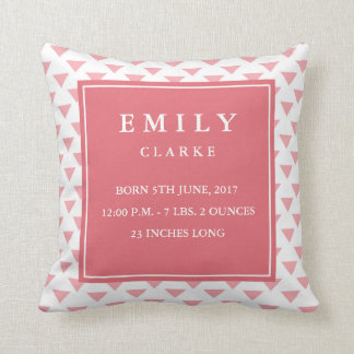 Modern Triangle Baby Birth Announcement Pillow