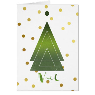 Modern Triangle Christmas Tree Gold Polka Dots Card