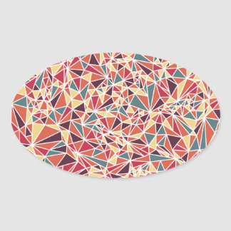 Modern Triangle Pattern Oval Sticker