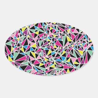 Modern Triangle Pattern Oval Sticker
