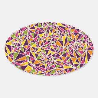 Modern Triangle Pattern Oval Stickers