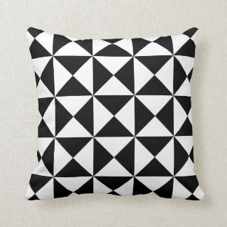 Modern Triangle Pattern Pillow in Black and White