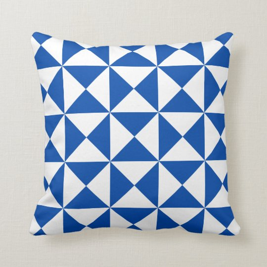 Modern Triangle Pattern Pillow in Electric Blue Zazzle