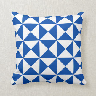 Modern Triangle Pattern Pillow in Electric Blue