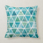 Modern Triangles in Turquoise Green Cushion
