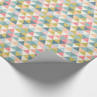 Modern Triangles Pastel and Gold Geometric Wrapping Paper