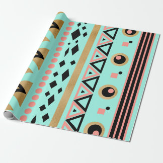 modern tribal aztec faux gold geometric pattern wrapping paper