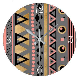 modern tribal aztec gold foil geometric pattern large clock