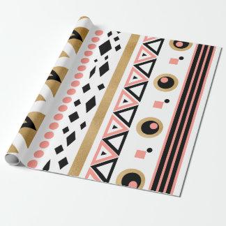 modern tribal aztec gold geometric pattern wrapping paper