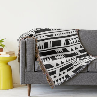 Modern Tribal Bamboo Pattern. Geometric. Throw Blanket