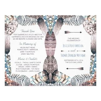 Modern Tribal Feathers Bohemian Wedding Program Flyer