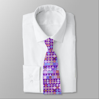 Modern Tribal Geometric, Amethyst Purple and Taupe Tie