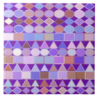 Modern Tribal Geometric, Amethyst Purple and Taupe Tile