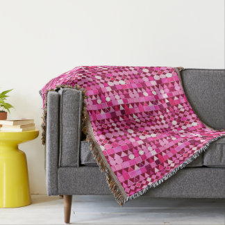 Modern Tribal Geometric, Burgundy and Pink Throw Blanket