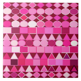 Modern Tribal Geometric, Burgundy and Pink Tile