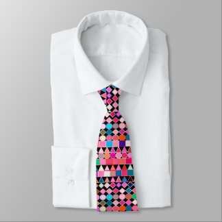 Modern Tribal Geometric, Jewel Colors on Black Tie