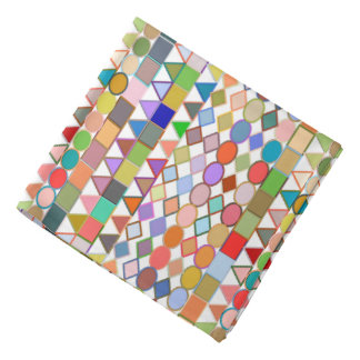Modern Tribal Geometric, Multi Pastels on white Bandana