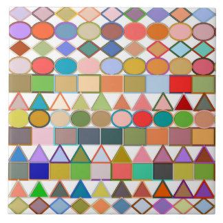 Modern Tribal Geometric, Multi Pastels on white Tile
