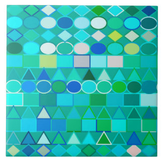 Modern Tribal Geometric, Sea Glass Aqua and Blue Tile