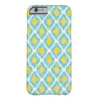 Modern tribal ikat blue yellow fashion barely there iPhone 6 case