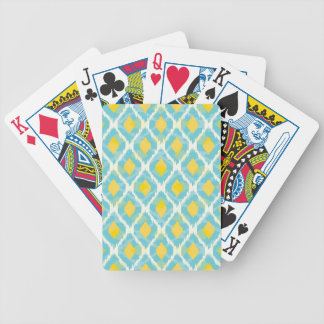 Modern tribal ikat blue yellow fashion bicycle playing cards