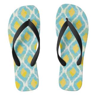 Modern tribal ikat blue yellow fashion flip flops