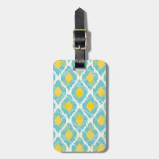 Modern tribal ikat blue yellow fashion luggage tag