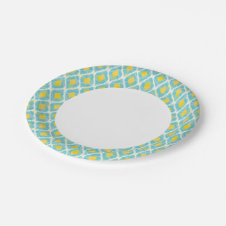 Modern tribal ikat blue yellow fashion paper plate