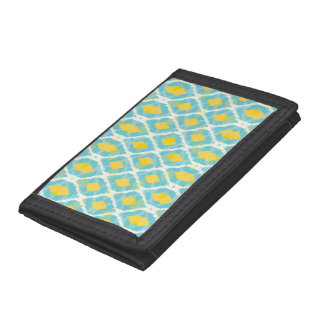 Modern tribal ikat blue yellow fashion tri-fold wallet