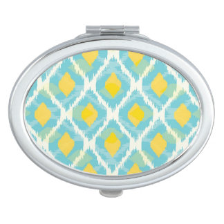 Modern tribal ikat blue yellow fashion vanity mirror