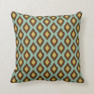Modern tribal ikat blue yellow modern cushion