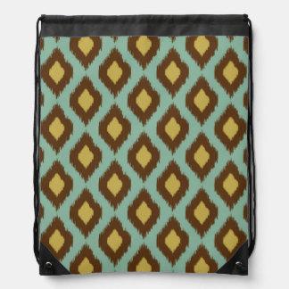 Modern tribal ikat blue yellow modern drawstring bag